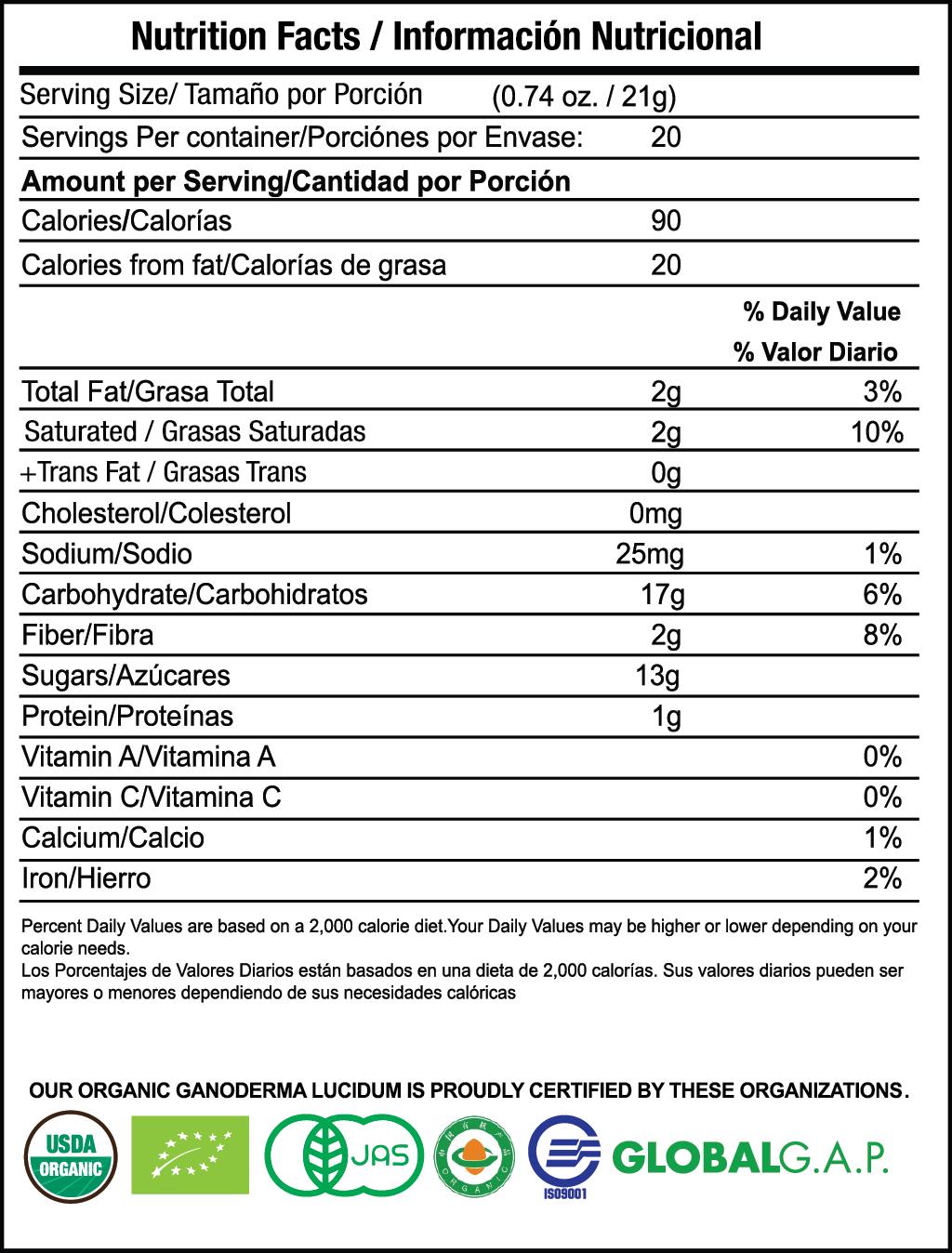 Hazelnut Latte (Avellana) nutrition facts