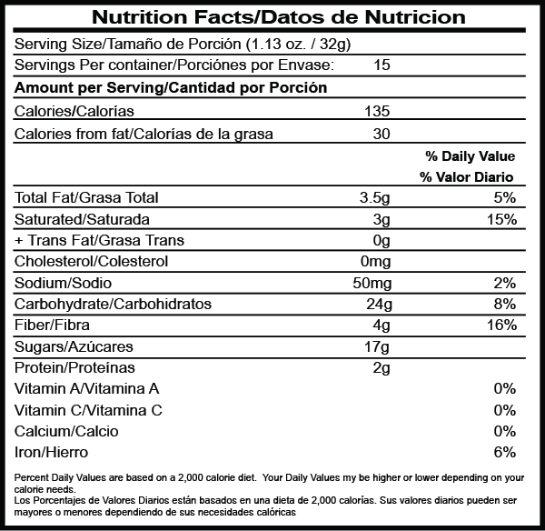 Chocolate Caliente nutrition facts